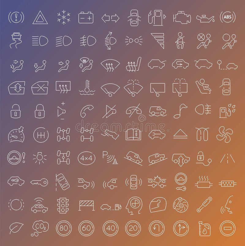 100 vector geplaatste lijnpictogrammen vector illustratie