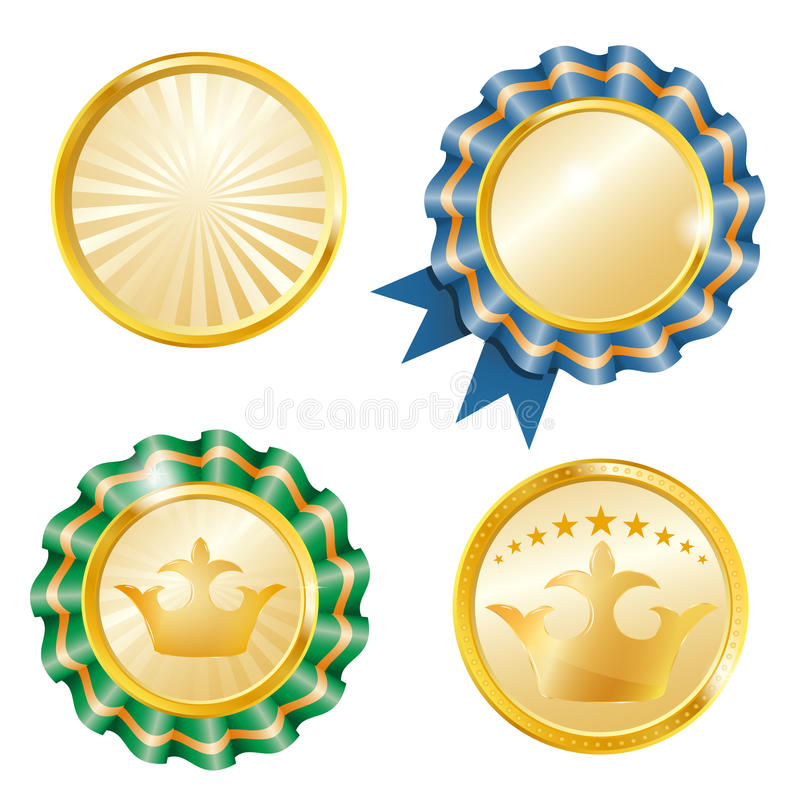 Vector geplaatste medailles stock illustratie