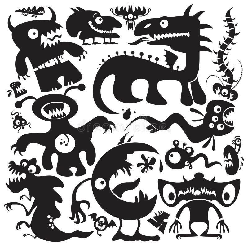 Vector geplaatste monsters royalty-vrije illustratie