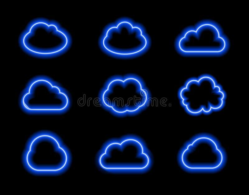 Vector Geplaatste Neonwolken, Helder Blauw Licht, Pictogrammen die Colelction op Donkere Achtergrond glanzen royalty-vrije illustratie