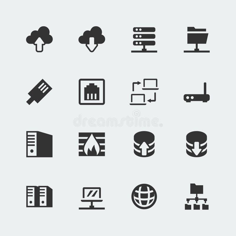 Vector geplaatste netwerkpictogrammen stock illustratie