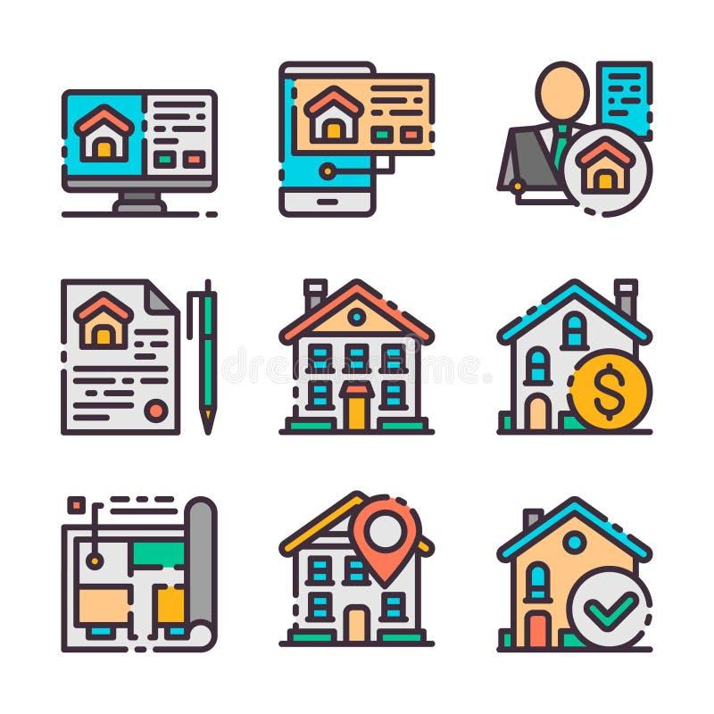 9 vector geplaatste onroerende goederenpictogrammen Huis de jacht Vectorkleurenpictogrammen stock illustratie