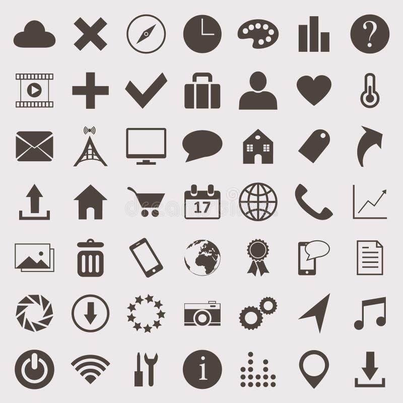Vector geplaatste pictogrammen stock afbeelding