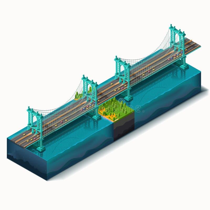 Vector geplaatste pictogrammen Brug over de rivier, ontwerp stock illustratie