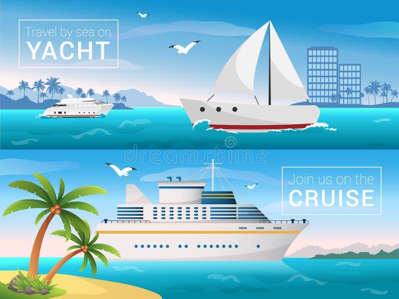 Vector geplaatste reisbanners Jacht in de baai van tropisch eiland, oceaan overzeese cruisevoering in de eilanden royalty-vrije illustratie