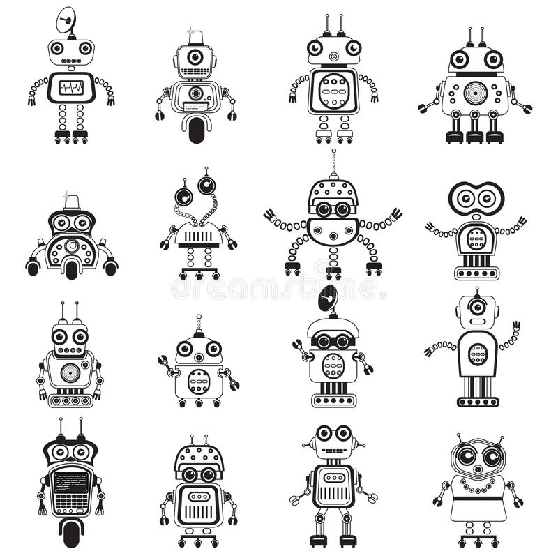 Vector geplaatste robotsilhouetten stock afbeelding
