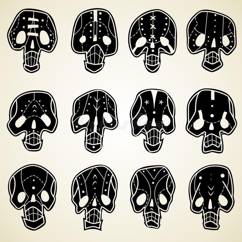 Vector geplaatste schedels vector illustratie