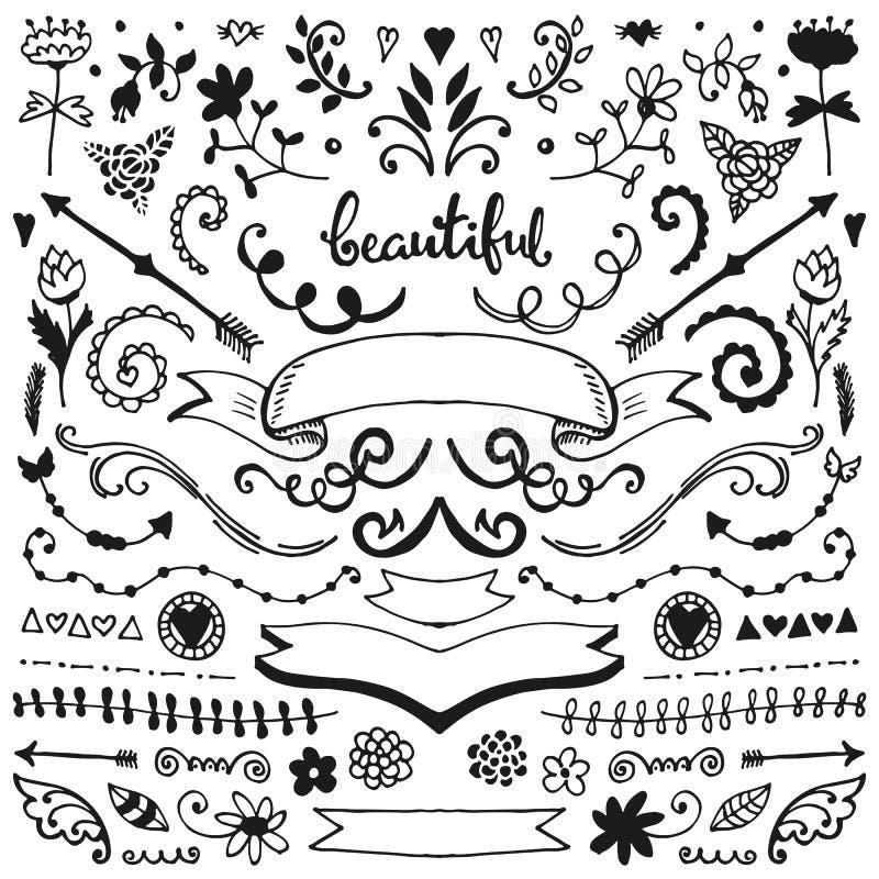 Vector geplaatste schetselementen royalty-vrije illustratie