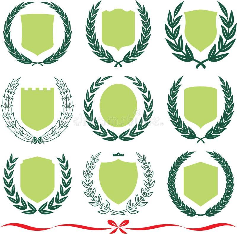 Vector geplaatste schilden en lauwerkransen royalty-vrije illustratie
