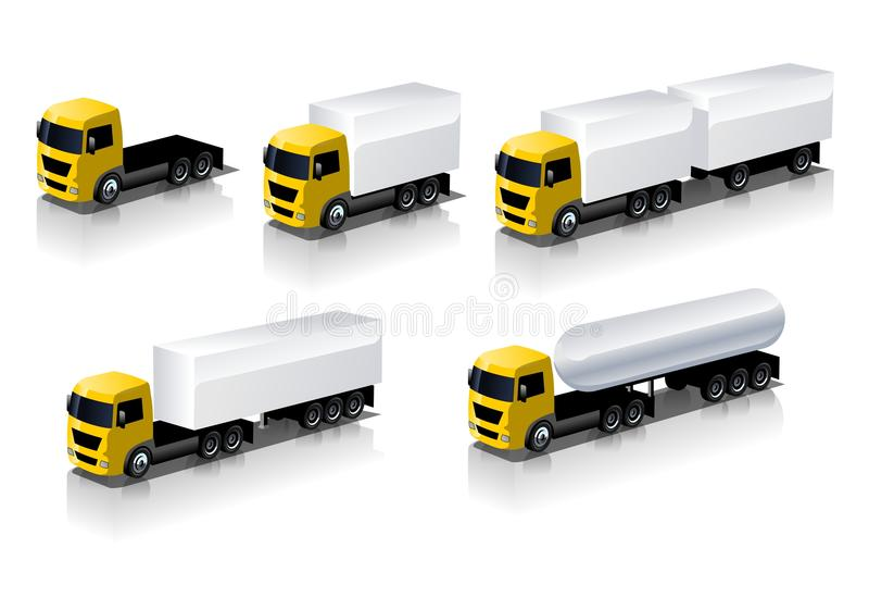 Vector geplaatste semi-vrachtwagenspictogrammen stock illustratie