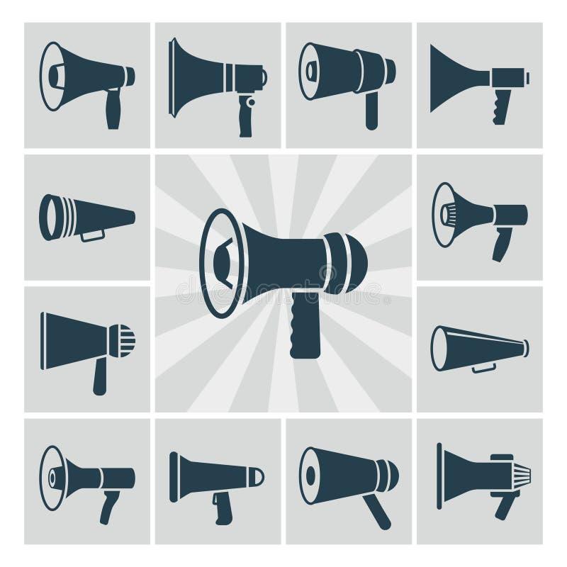 Vector geplaatste sprekerspictogrammen De vlakke inzameling van megafoonsilhouetten vector illustratie
