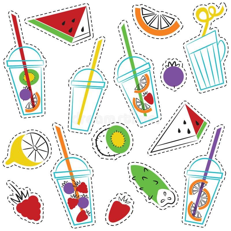 Vector geplaatste stickers van de zomer de ogranic dranken vector illustratie