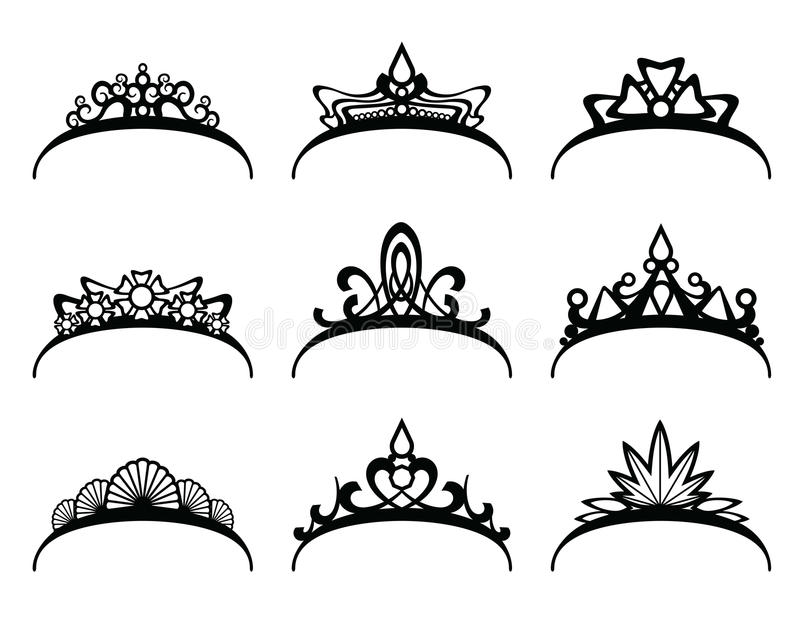 Vector geplaatste tiara's royalty-vrije illustratie