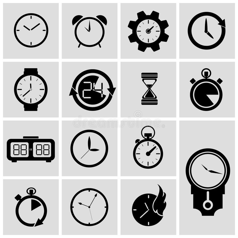 Vector geplaatste tijdopnemerpictogrammen royalty-vrije illustratie