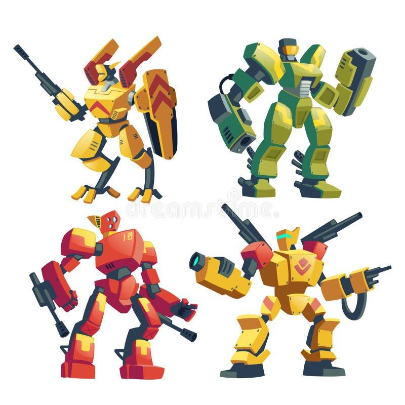 Vector geplaatste transformatoren, slagrobots met kanonnen stock illustratie