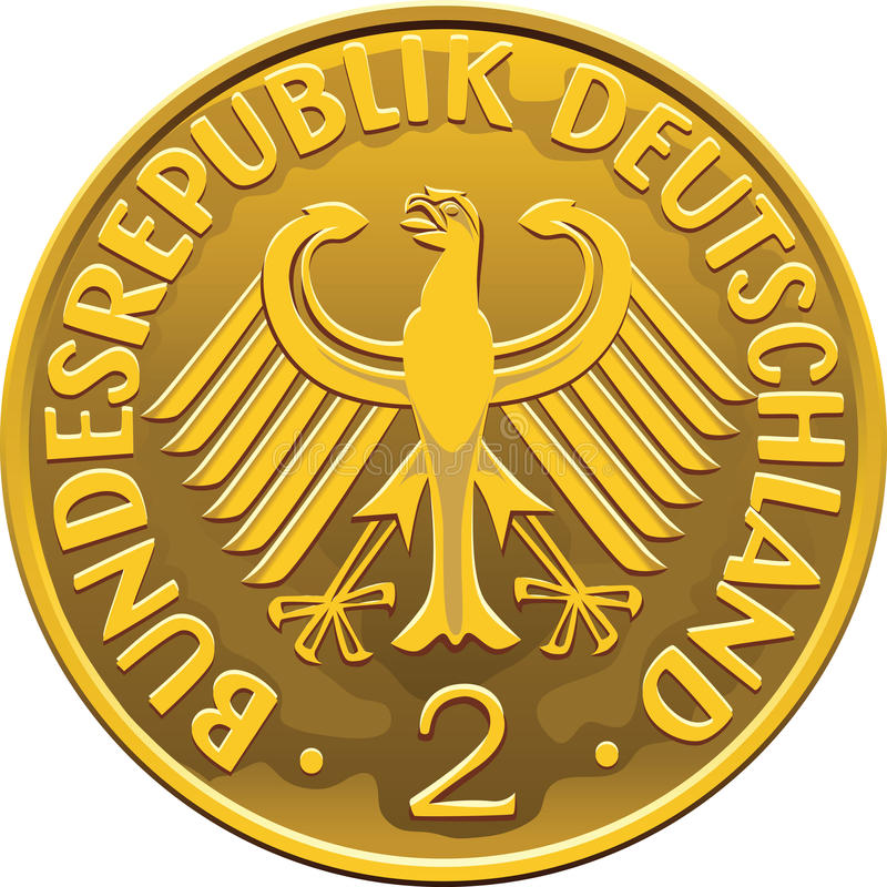 Vector Germany Money gold coin with heraldic eagle royalty free stock photo