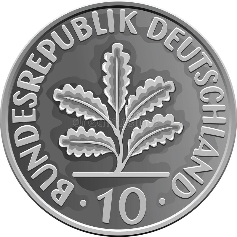 Vector Germany Money silver coin with Oak Leaves stock photo
