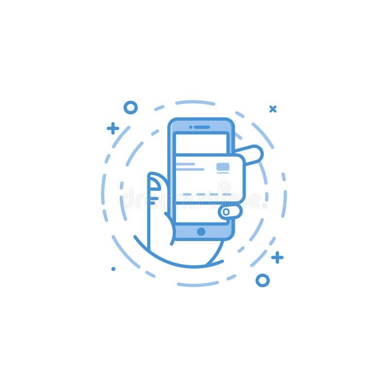 Vector Geschäftsillustration von blauen Farben Hand und Handy mit Kreditkarteikone stock abbildung