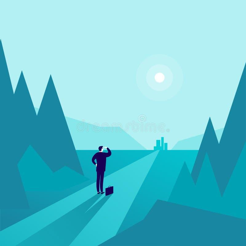 Vector Geschäftskonzeptillustration mit dem Geschäftsmann, der am Waldrand steht und auf Horizontstadt aufpasst lizenzfreie abbildung