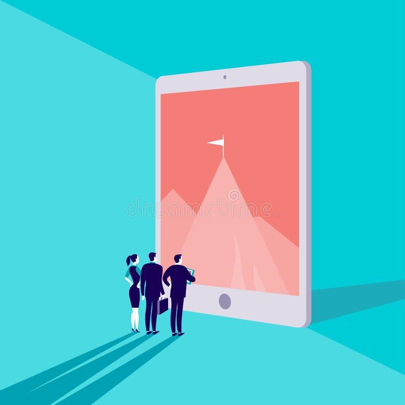 Vector Geschäftskonzeptillustration mit den Geschäftsleuten, die auf Bergspitze auf großem Tablettenschirm auf blauem Hintergrund stock abbildung