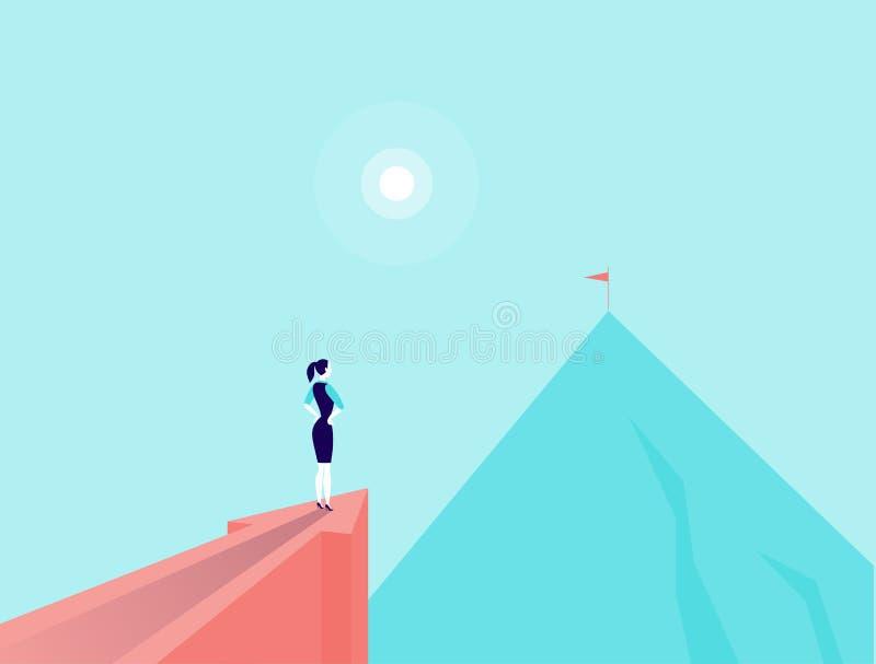 Vector Geschäftskonzeptillustration mit Geschäftsdame, die auf dem großen Pfeil steht, der auf Bergspitze zeigt stock abbildung