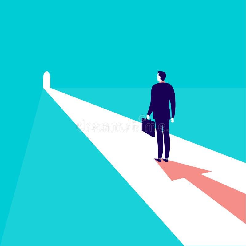 Vector Geschäftskonzeptillustration mit Geschäftsmann im dunklen Anzug mit dem Fall, der im Türlicht mit Pfeil Schatten, Ziel und stock abbildung