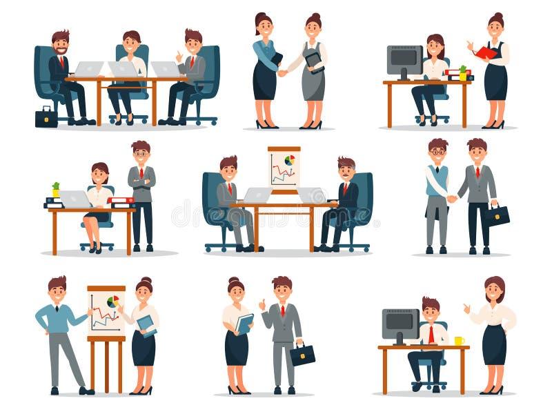 Vector Geschäftsleute Charaktere am Arbeitssatz, -mann und -Arbeitnehmerinnen am Arbeitsplatz in der Bürokarikatur Illustrationen lizenzfreie abbildung