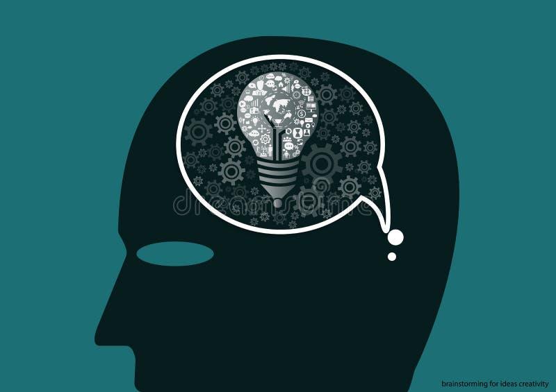 Vector Geschäftsmannbrainstorming für flaches Design der Ideenkreativität lizenzfreie abbildung