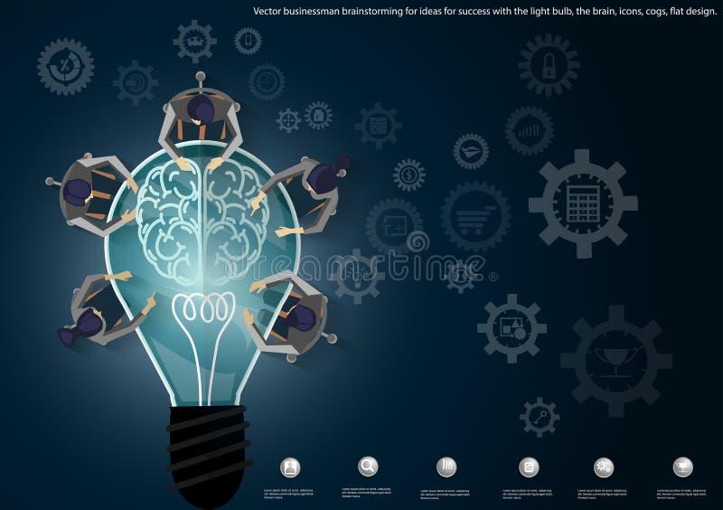 Vector Geschäftsmannbrainstorming für Ideen für Erfolg mit der Glühlampe, das Gehirn, Ikonen, Zähne, flaches Design stock abbildung