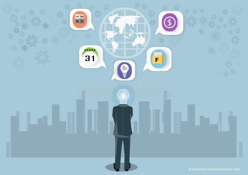 Vector Geschäftsmannbrainstorming für Ideen globales Marketing und Ikonen zusammen mit flachem Design des Geschäfts stock abbildung
