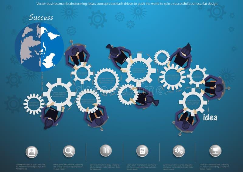 Vector Geschäftsmannbrainstormingideen, den Konzeptrückprall, der gefahren wird, um die Welt zu drücken, um ein erfolgreiches Ges vektor abbildung