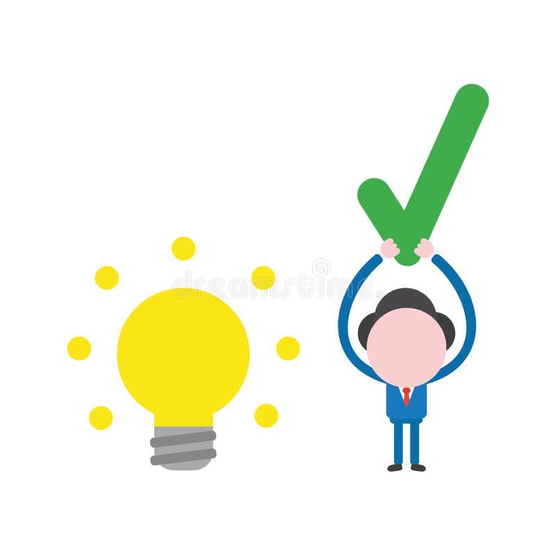 Vector Geschäftsmanncharakter mit glühender Glühlampeidee und ho vektor abbildung