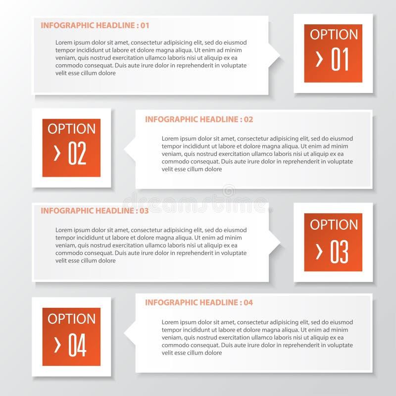 Vector Geschäftsschritt-Papierdiagramm und nummeriert Fahnendesignschablone stock abbildung