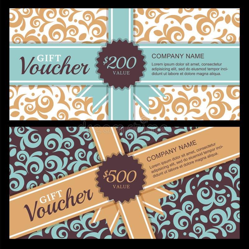 Vector Geschenkgutschein mit Weinleseverzierungshintergrund und -band stock abbildung