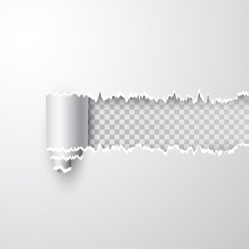 Vector gescheurd gat in blad van Witboek Transparante achtergrond van resulterend venster Malplaatjedocument ontwerp stock illustratie