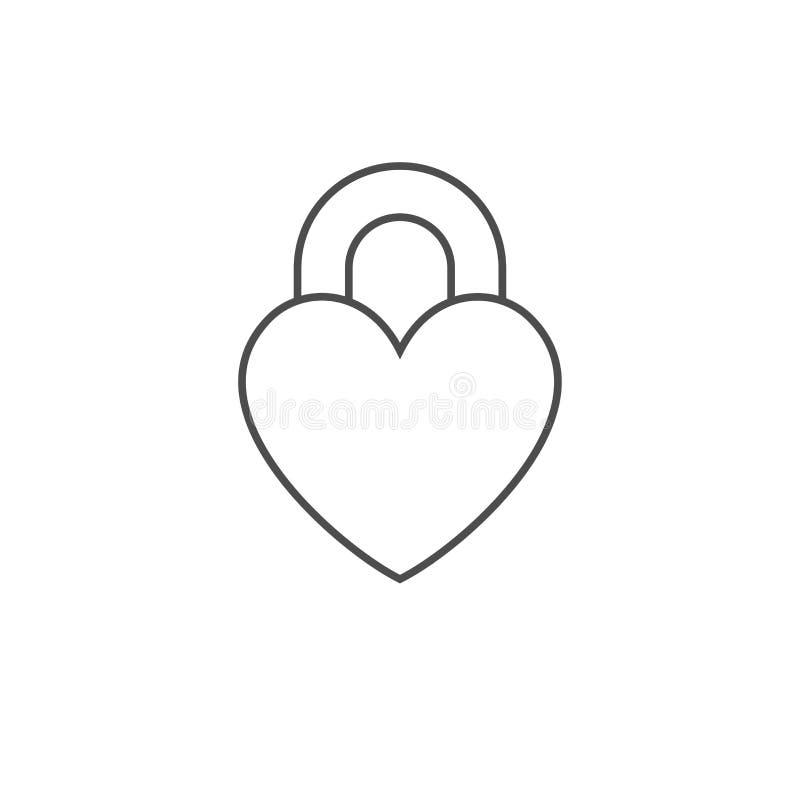 Vector gesloten slot in de vorm van hart Overzichts vlak pictogram dat op witte achtergrond wordt geïsoleerd Vectorvormteken voor stock illustratie