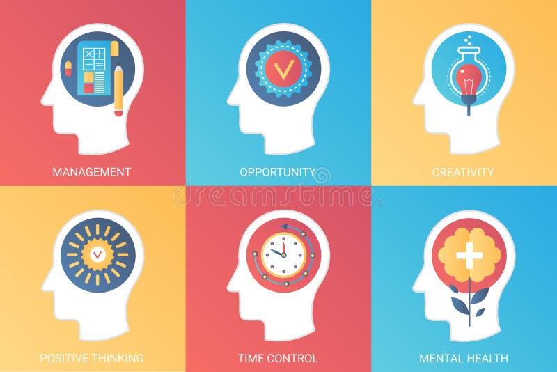 Vector a gestão do conceito, oportunidade, faculdade criadora, pensamento positivo, controle de tempo, saúde mental Inclinação mo ilustração do vetor