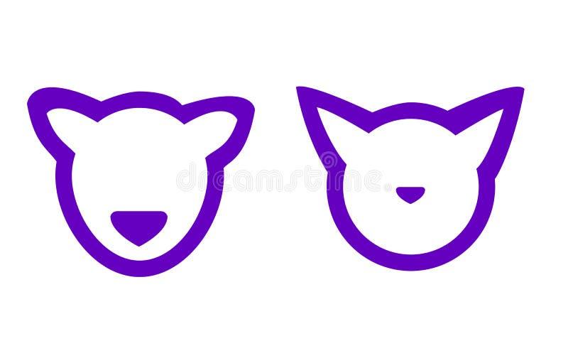 Vector gestileerde kat en hond vector illustratie