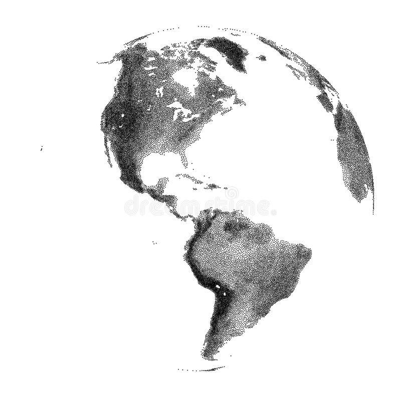 Vector gestippelde bol met continentale hulp stock illustratie
