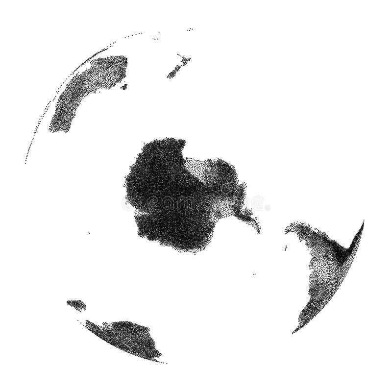 Vector gestippelde bol met continentale hulp van Antarctis royalty-vrije illustratie