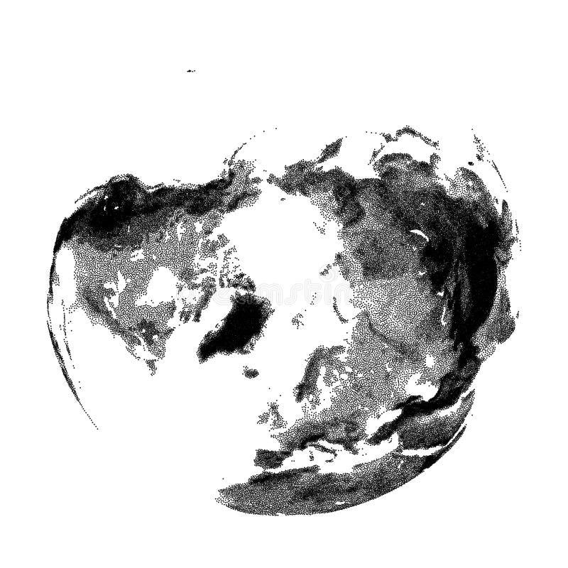 Vector gestippelde bol met continentale hulp van Arctica vector illustratie