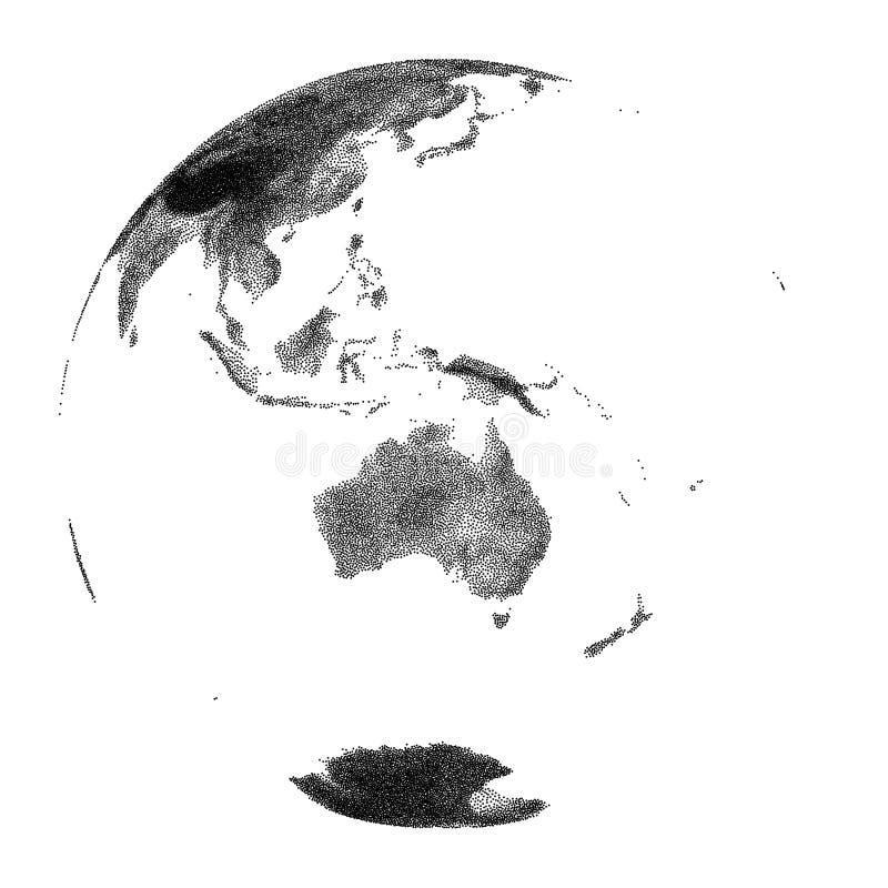 Vector gestippelde bol met continentale hulp van Australië stock illustratie