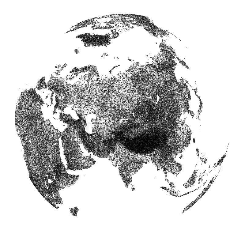 Vector gestippelde bol met continentale hulp van Azië vector illustratie