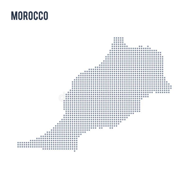 Vector gestippelde die kaart van Marokko op witte achtergrond wordt geïsoleerd stock illustratie