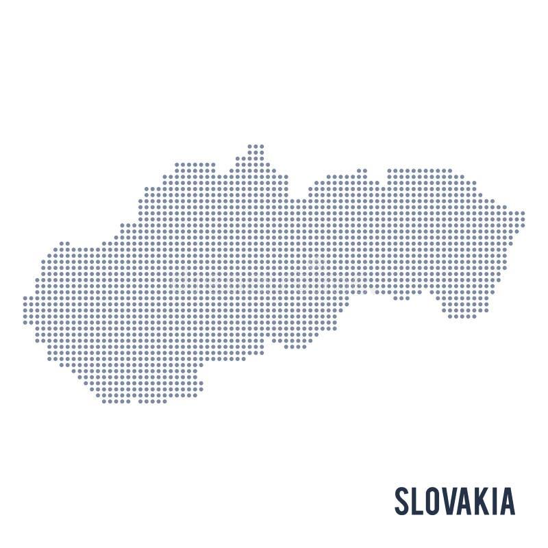 Vector gestippelde die kaart van Slowakije op witte achtergrond wordt geïsoleerd stock illustratie