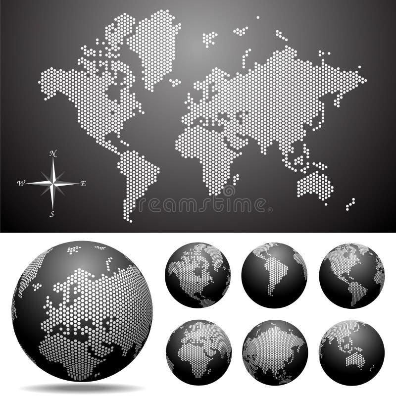 Vector gestippelde Kaart en Bol van de Wereld royalty-vrije illustratie