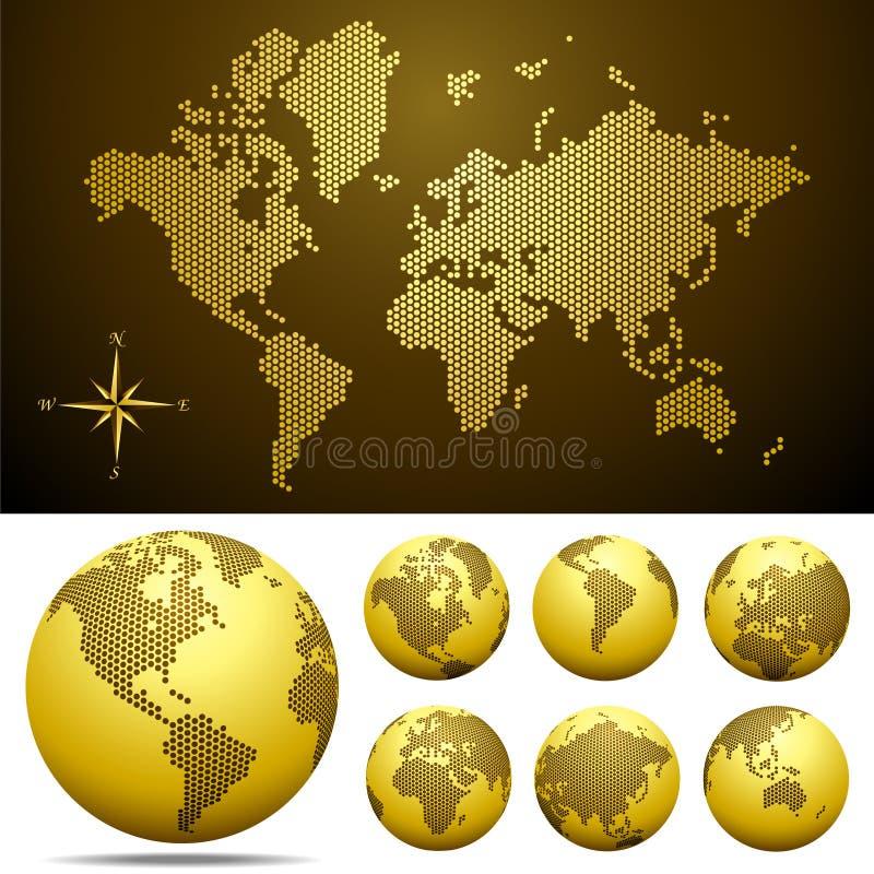 Vector gestippelde Kaart en Bol van de Wereld - Goud royalty-vrije illustratie