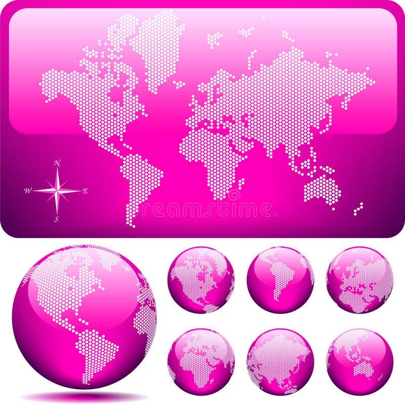 Vector gestippelde Kaart en Bol van de Wereld - ROZE stock illustratie