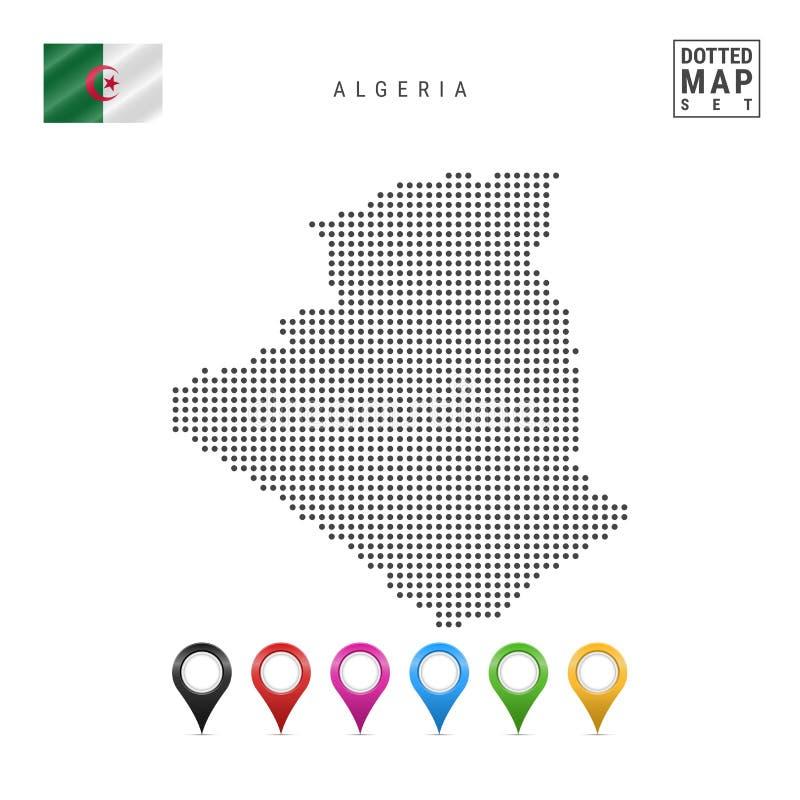 Vector Gestippelde Kaart van Algerije Eenvoudig Silhouet van Algerije Nationale vlag van Algerije Reeks Multicolored Kaarttellers stock illustratie