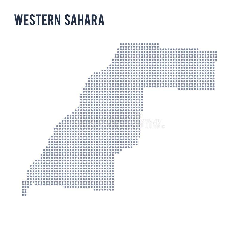Vector gestippelde kaart van de Westelijke die Sahara op witte achtergrond wordt geïsoleerd royalty-vrije illustratie